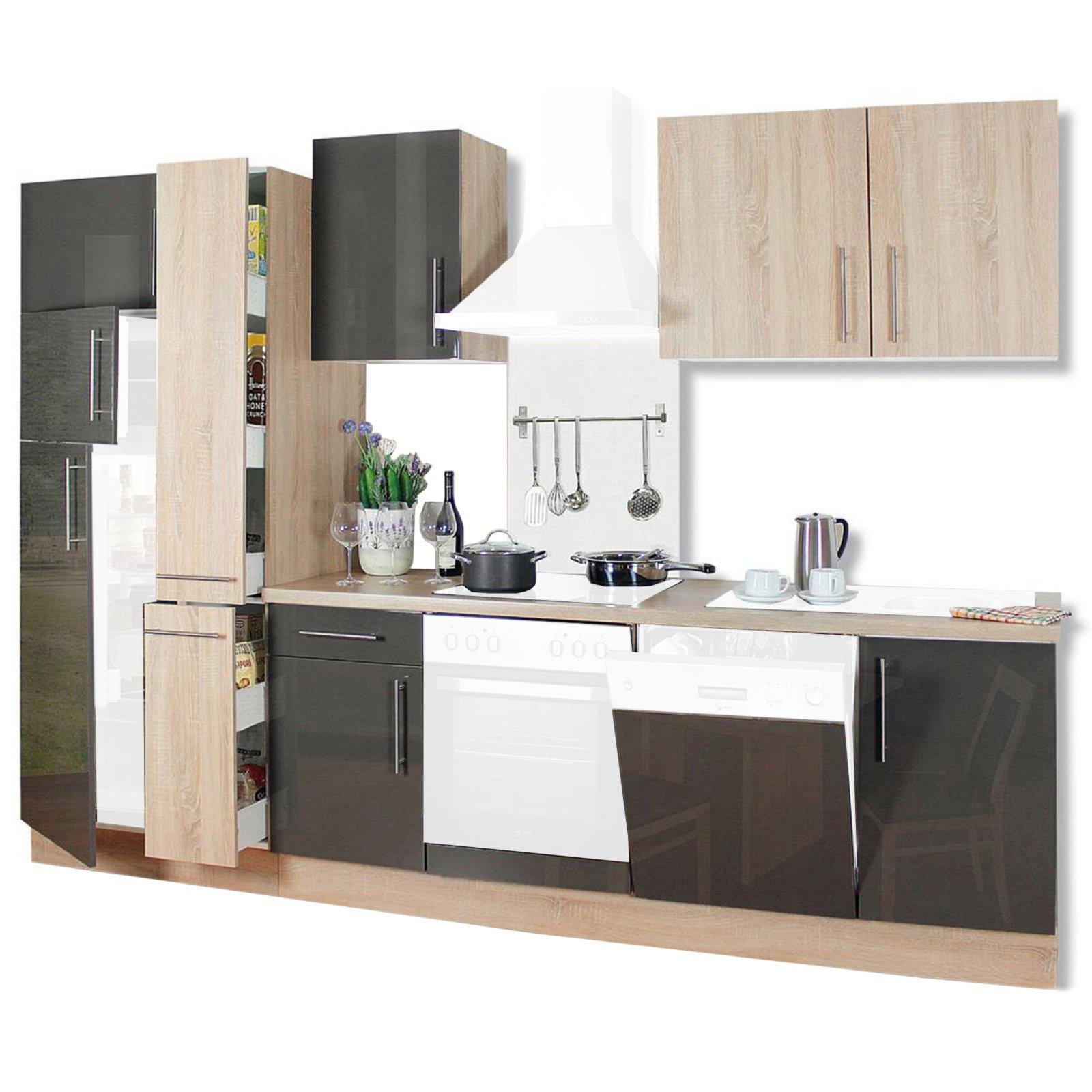 k chenblock jana sonoma eiche lava hochglanz 310 cm ebay. Black Bedroom Furniture Sets. Home Design Ideas