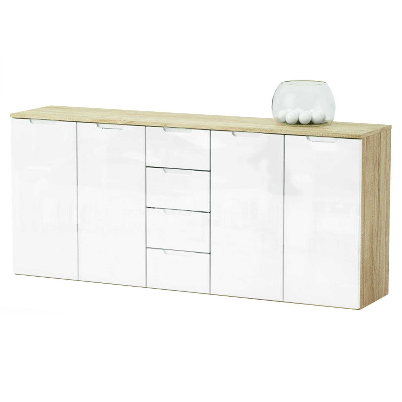 kommode clio sonoma eiche wei 179 cm kommoden sideboards m bel m belhaus roller. Black Bedroom Furniture Sets. Home Design Ideas