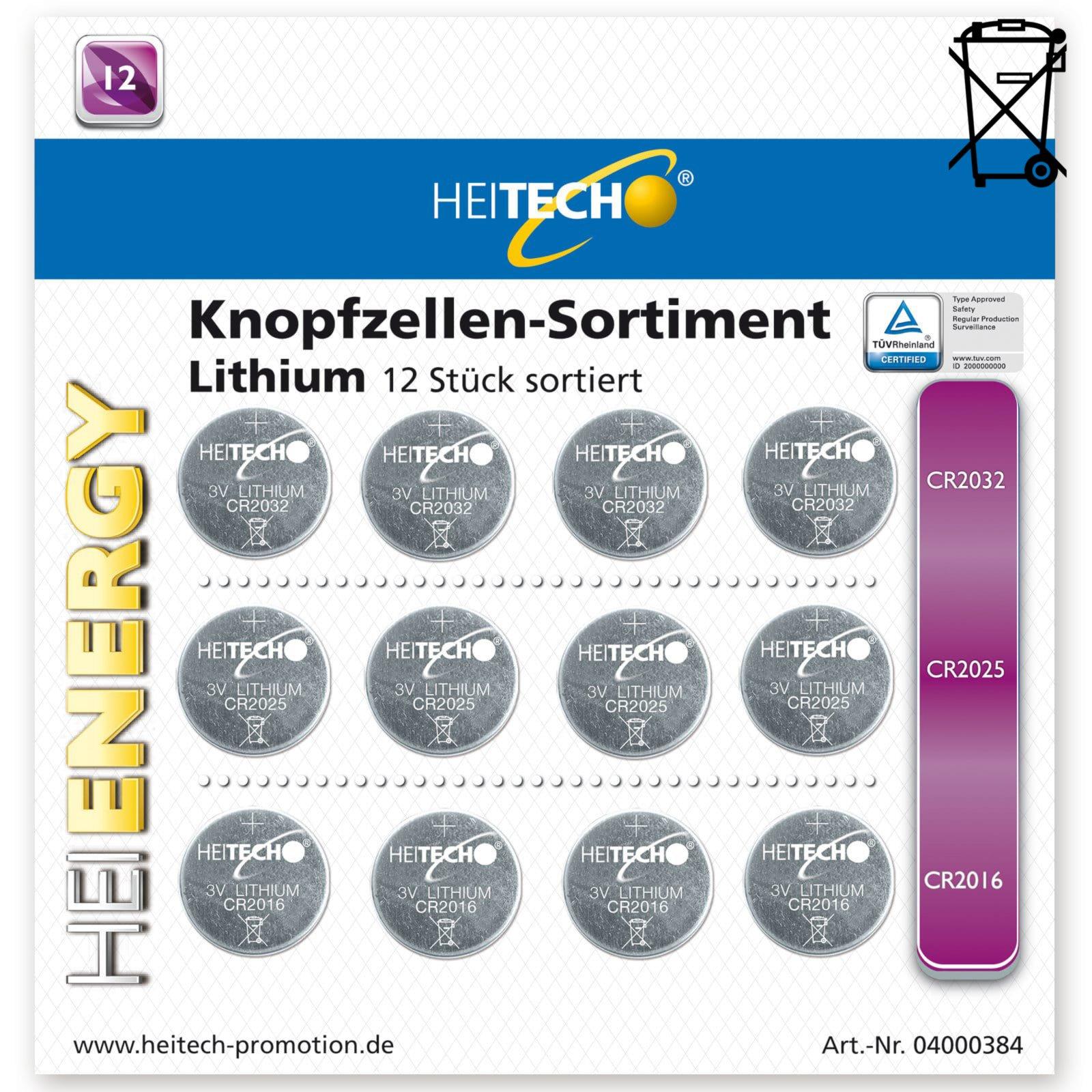 12er-Pack Knopfzellen-Sortiment - Lithium - sortiert