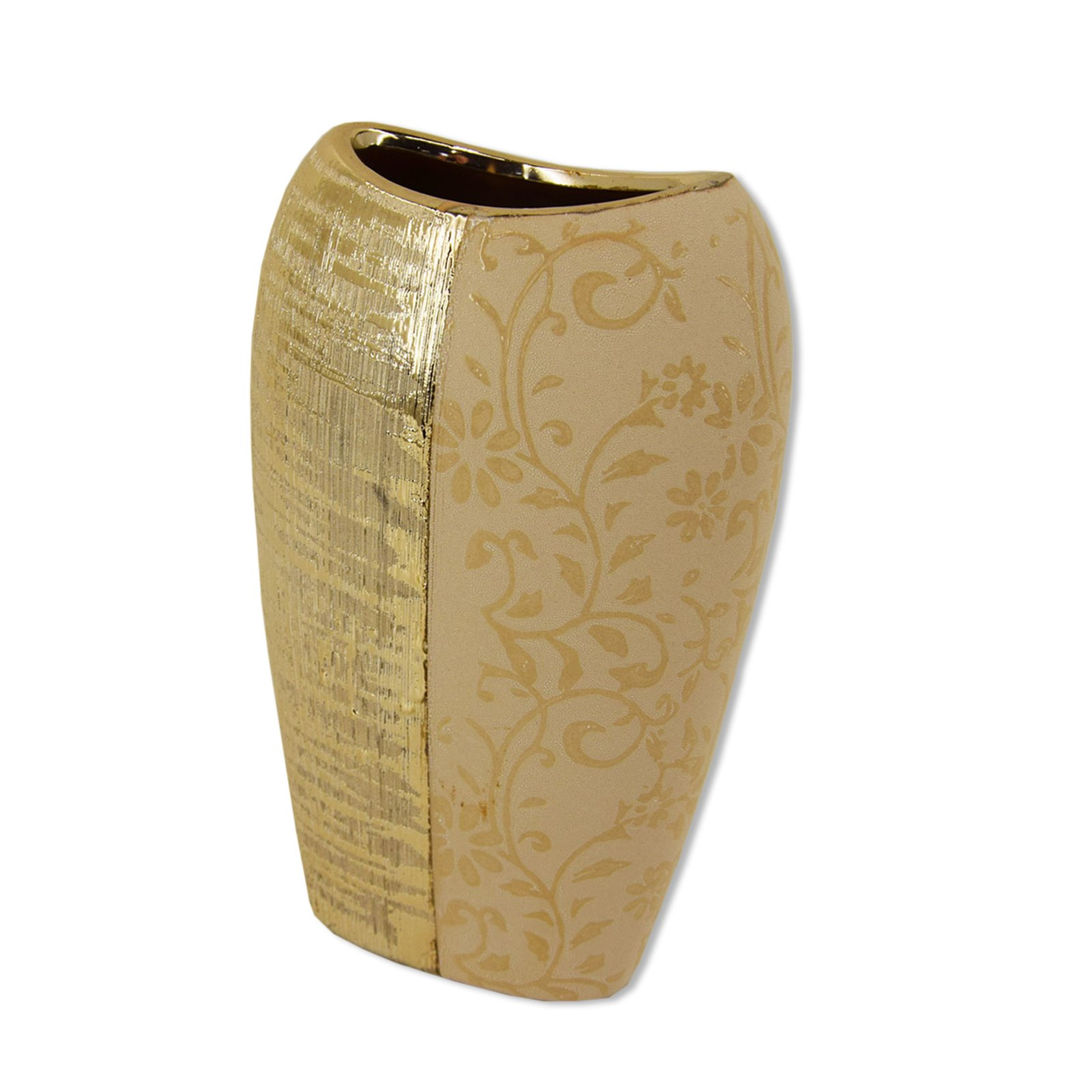 roller vase gold keramik mit blumendekor 22 cm hoch ebay. Black Bedroom Furniture Sets. Home Design Ideas