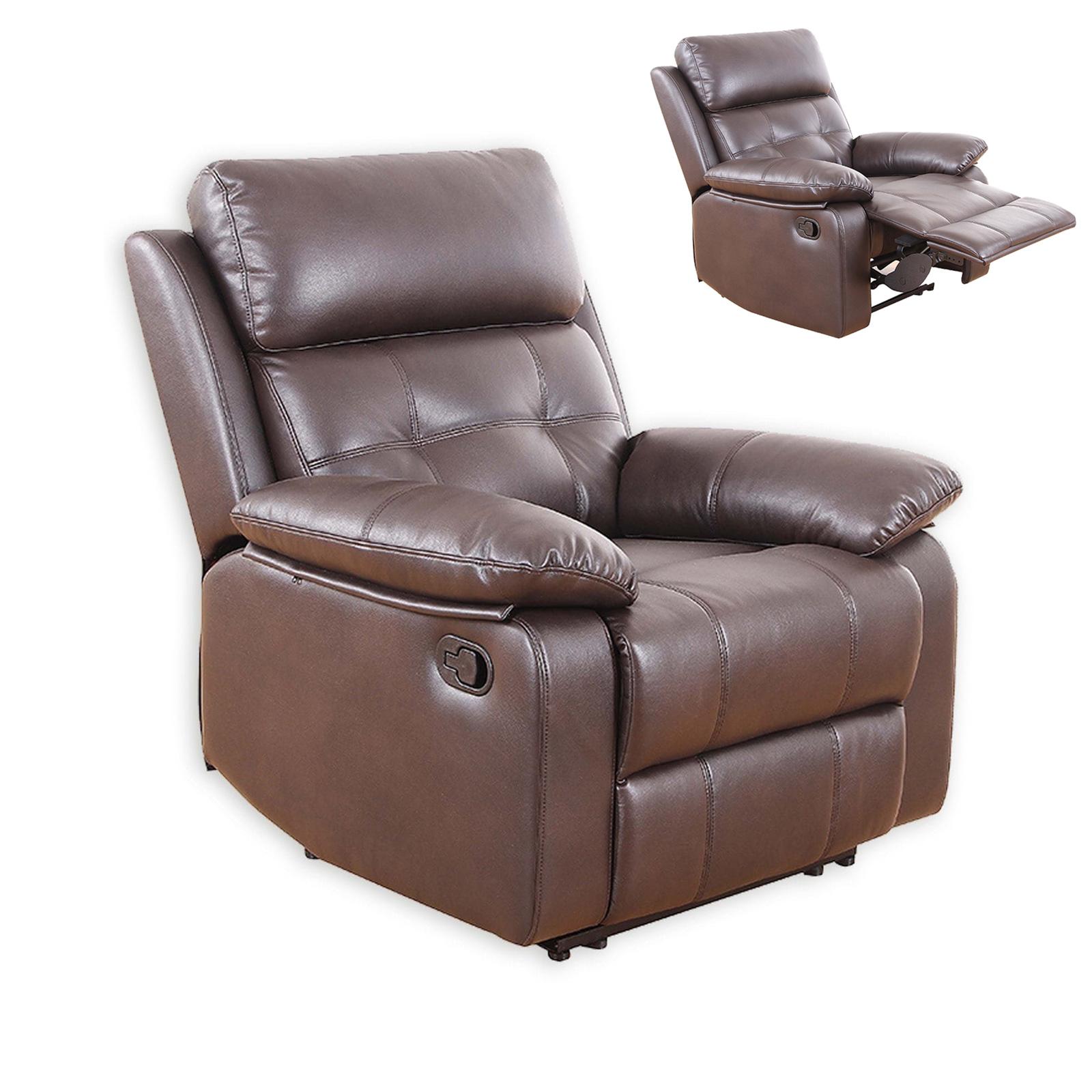 Set 2 Sofas und 1 Sessel dunkelbraun Kunstleder