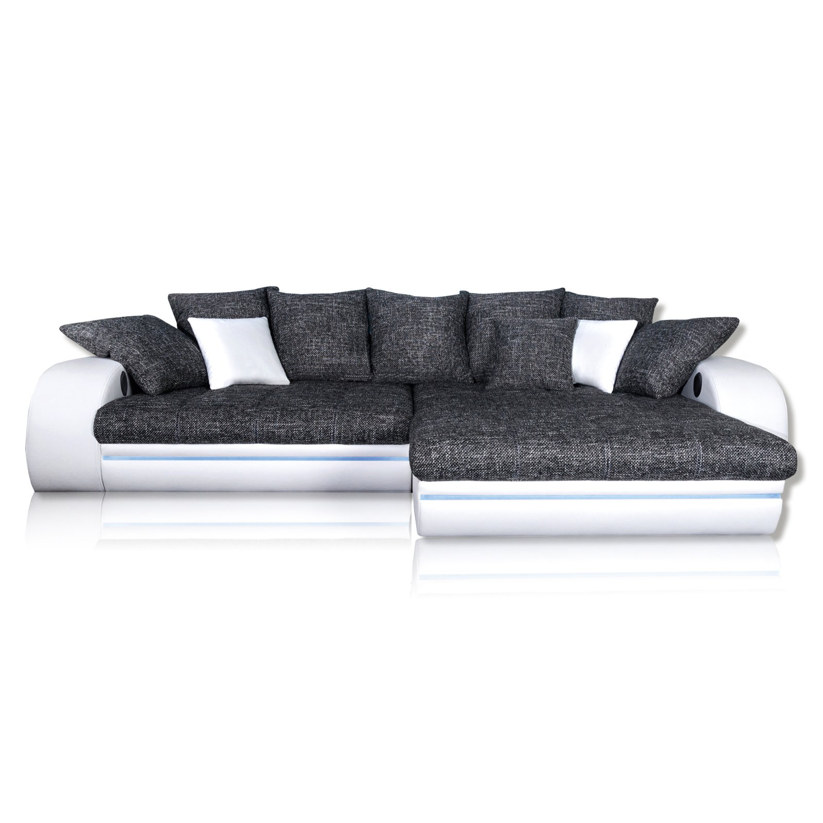 ecksofa anthrazit wei mit soundsystem recamiere rechts ebay. Black Bedroom Furniture Sets. Home Design Ideas