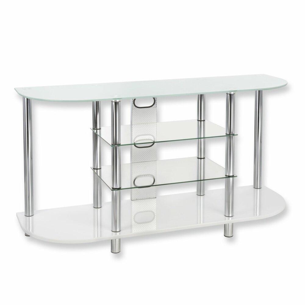 tv regal wei sicherheits glas 120 cm breite tv racks tv hifi m bel m bel roller. Black Bedroom Furniture Sets. Home Design Ideas