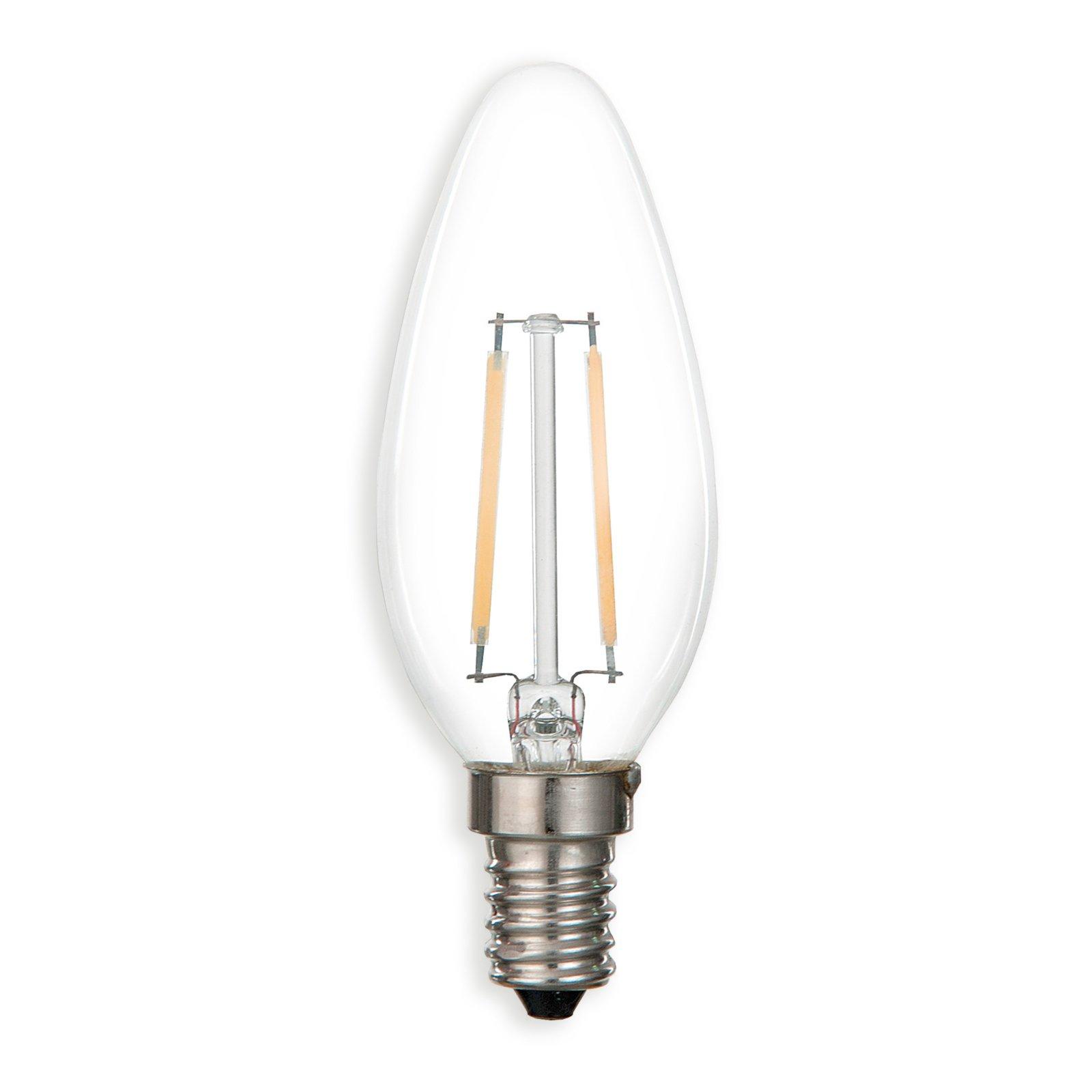 led kerzenlampe filament e14 2 watt warmwei led. Black Bedroom Furniture Sets. Home Design Ideas