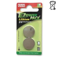 2er Pack Lithium Knopfzellen-Batterien - CR2025