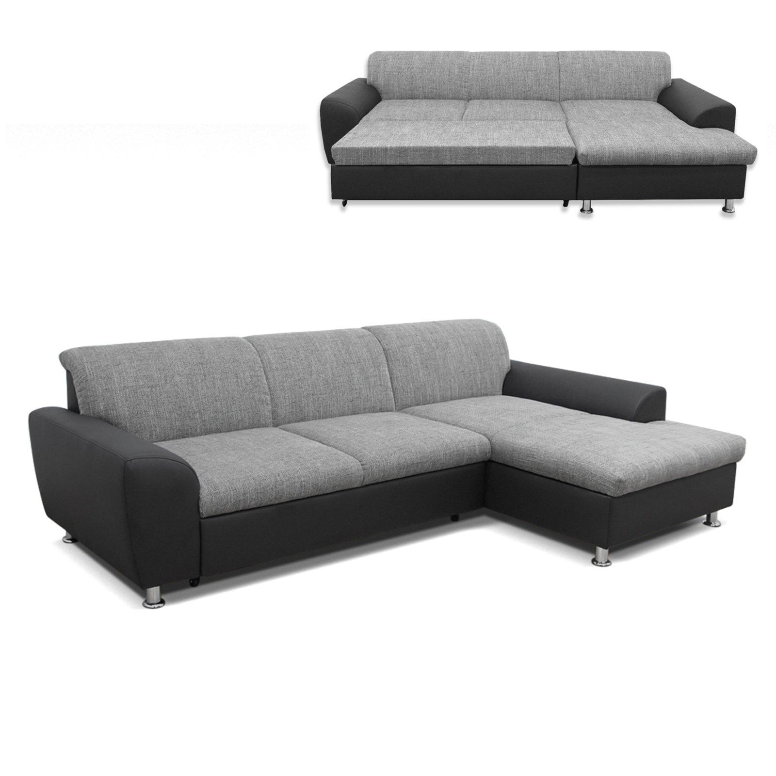 polsterecke wei grau schwarz liegefunktion recamiere rechts ecksofas l form sofas. Black Bedroom Furniture Sets. Home Design Ideas