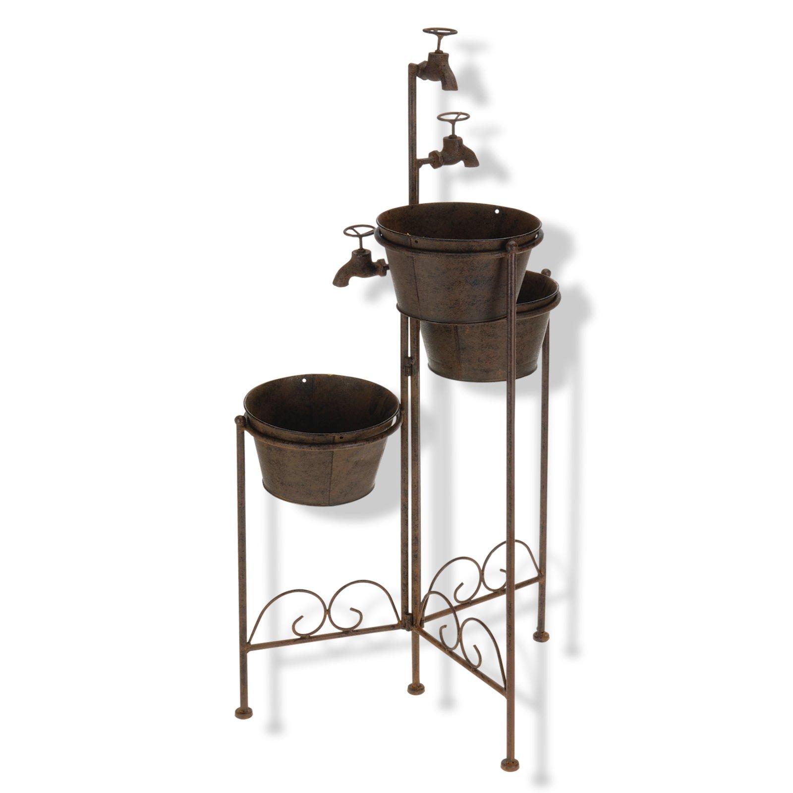pflanzt pfe mit wasserhahn braun rost 3 t pfe. Black Bedroom Furniture Sets. Home Design Ideas