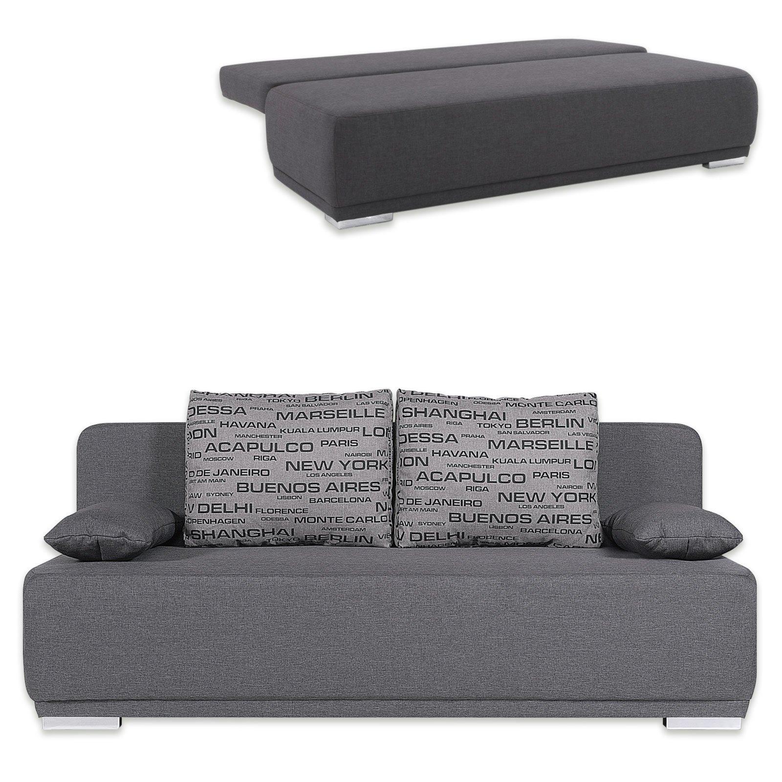 schlafsofa grau mit staukasten ebay. Black Bedroom Furniture Sets. Home Design Ideas
