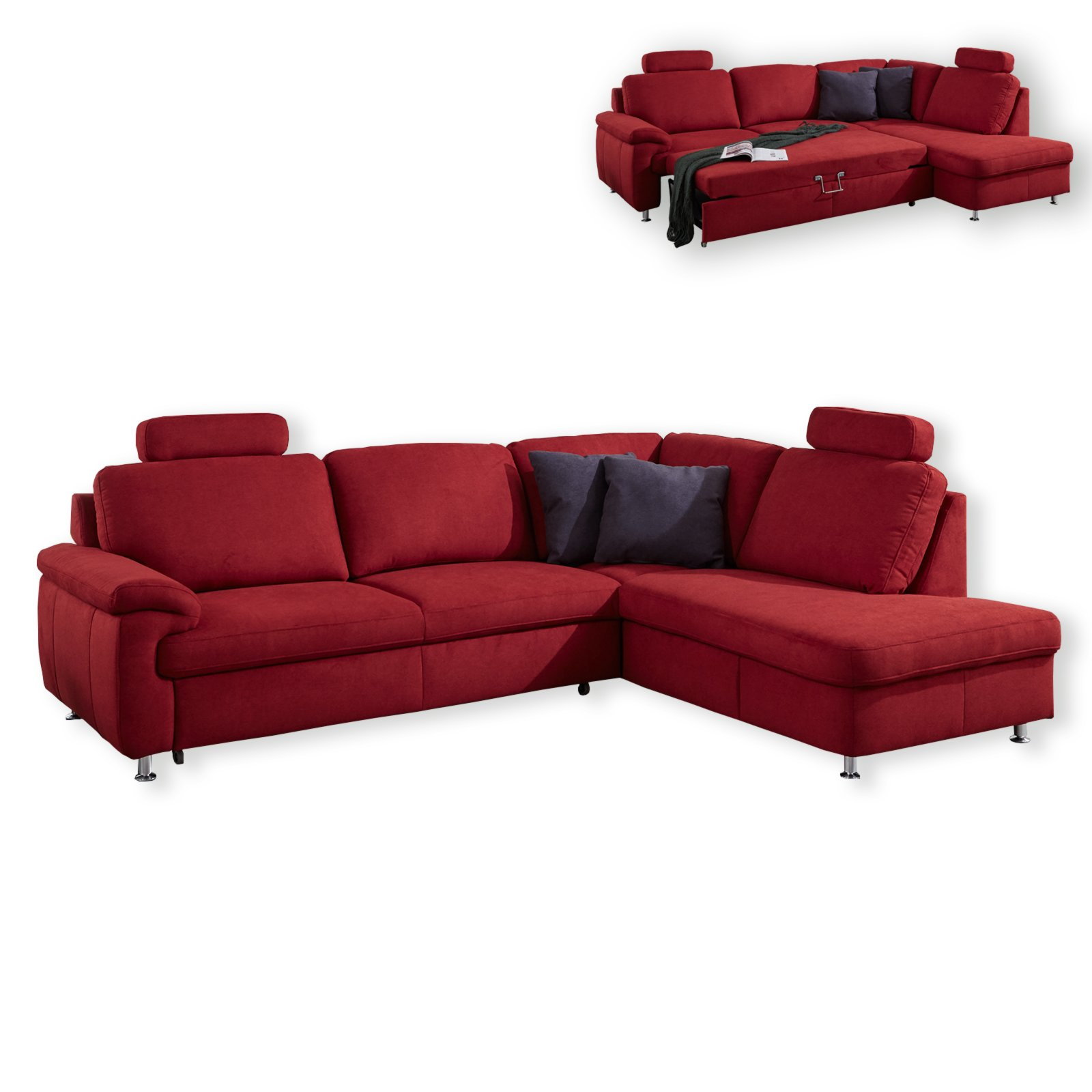 ecksofa bordeaux mit funktionen armlehne links ecksofas l form sofas couches m bel. Black Bedroom Furniture Sets. Home Design Ideas