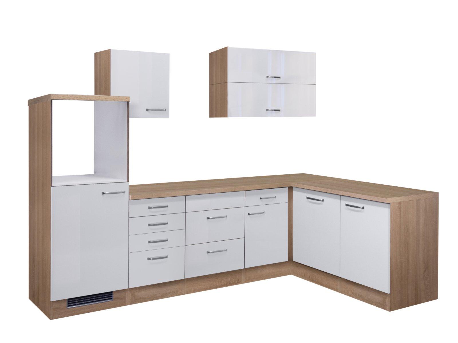 Winkelküche VALERO - weiß Hochglanz-Sonoma Eiche - 280x170 cm