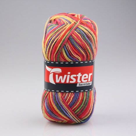 Wolle TWISTER SOX COLOR - rot multi - 100g