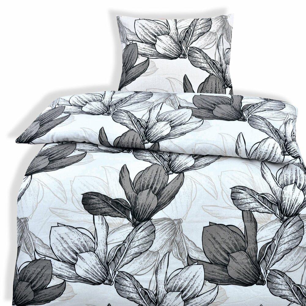 renforce bettw sche exclusiv wei grau blumen 135x200 cmangebot bei roller kw in deutschland. Black Bedroom Furniture Sets. Home Design Ideas