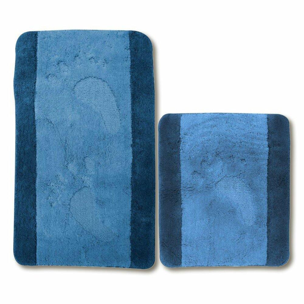 badgarnitur feets blau 2 teilig microfaser badteppiche matten badtextilien. Black Bedroom Furniture Sets. Home Design Ideas
