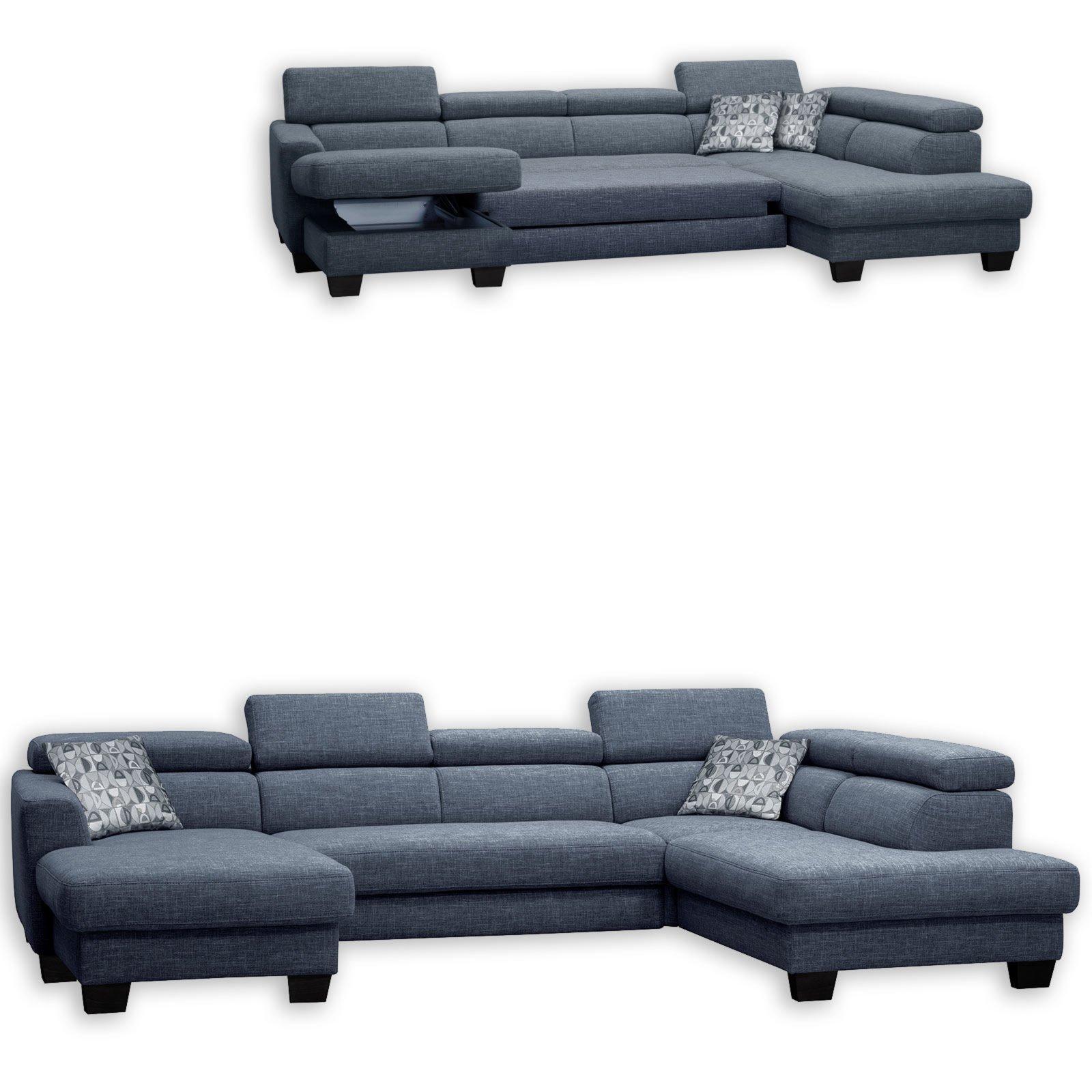 wohnlandschaft blau grau mit liegefunktion wohnlandschaften u form sofas couches. Black Bedroom Furniture Sets. Home Design Ideas