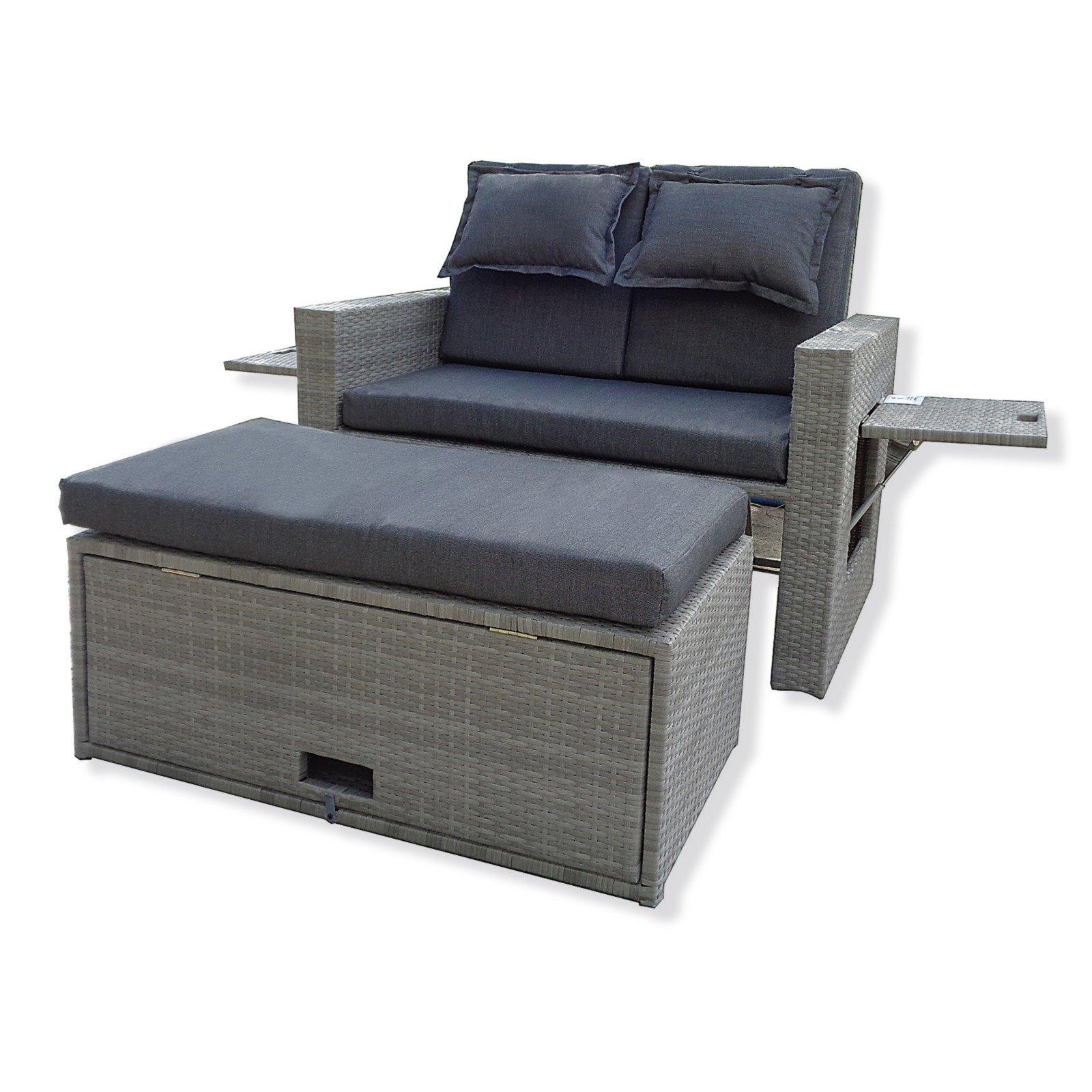 roller gartensofa ibiza grau rattanoptik mit hocker ebay. Black Bedroom Furniture Sets. Home Design Ideas