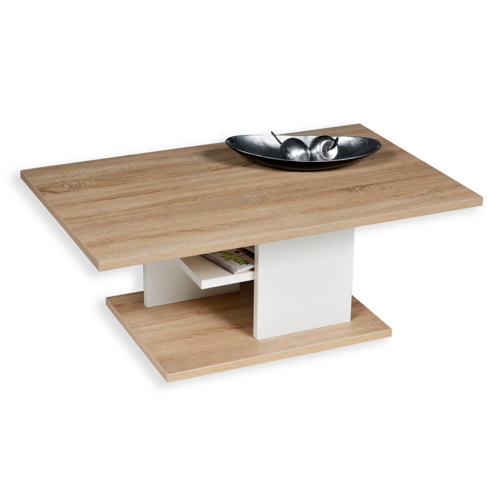 couchtisch davos sonoma eiche wei mit ablage couchtische wohnzimmer wohnbereiche roller. Black Bedroom Furniture Sets. Home Design Ideas
