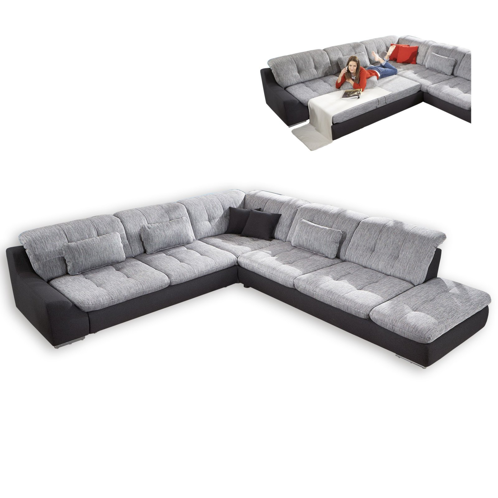 ecksofa silber graphit mit funktionen anstellhocker rechts ecksofas l form sofas. Black Bedroom Furniture Sets. Home Design Ideas