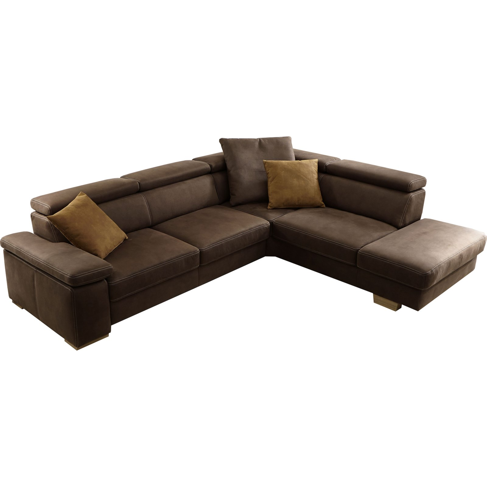 ecksofa braun mit kopfpolsterverstellung ecksofas l form sofas couches m bel. Black Bedroom Furniture Sets. Home Design Ideas