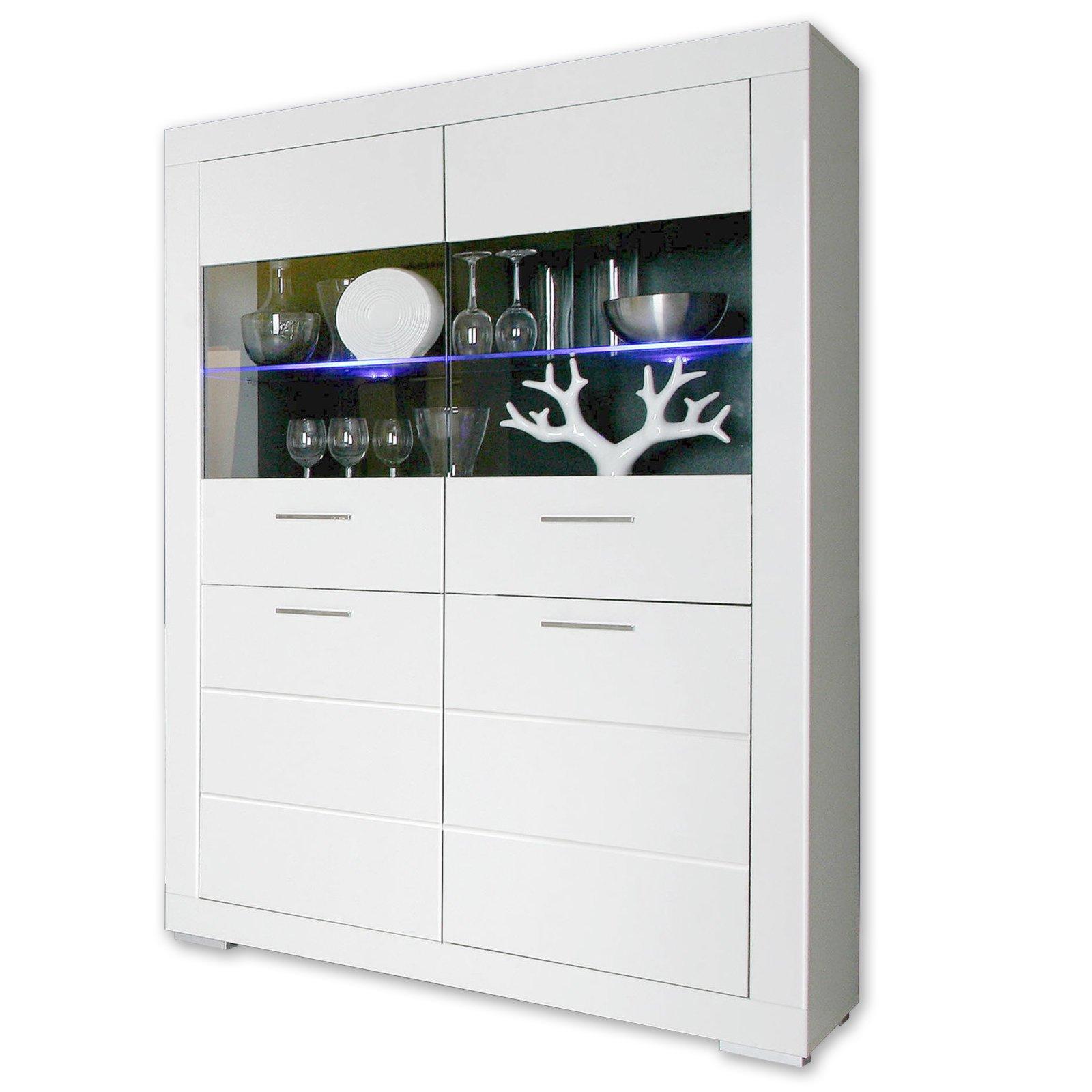vitrine snow wei matt mit beleuchtung ebay. Black Bedroom Furniture Sets. Home Design Ideas