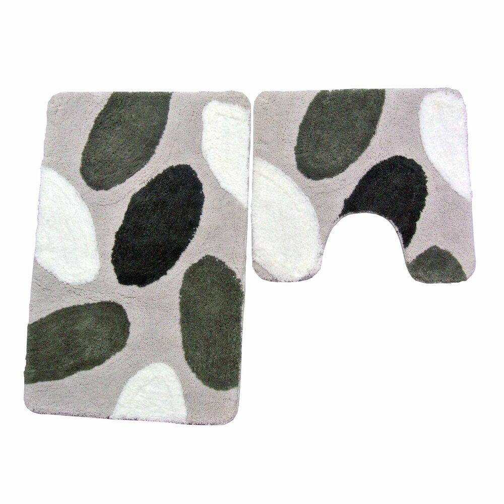 badgarnitur stones grau 2 teilig mit ausschnitt badteppiche matten badtextilien. Black Bedroom Furniture Sets. Home Design Ideas