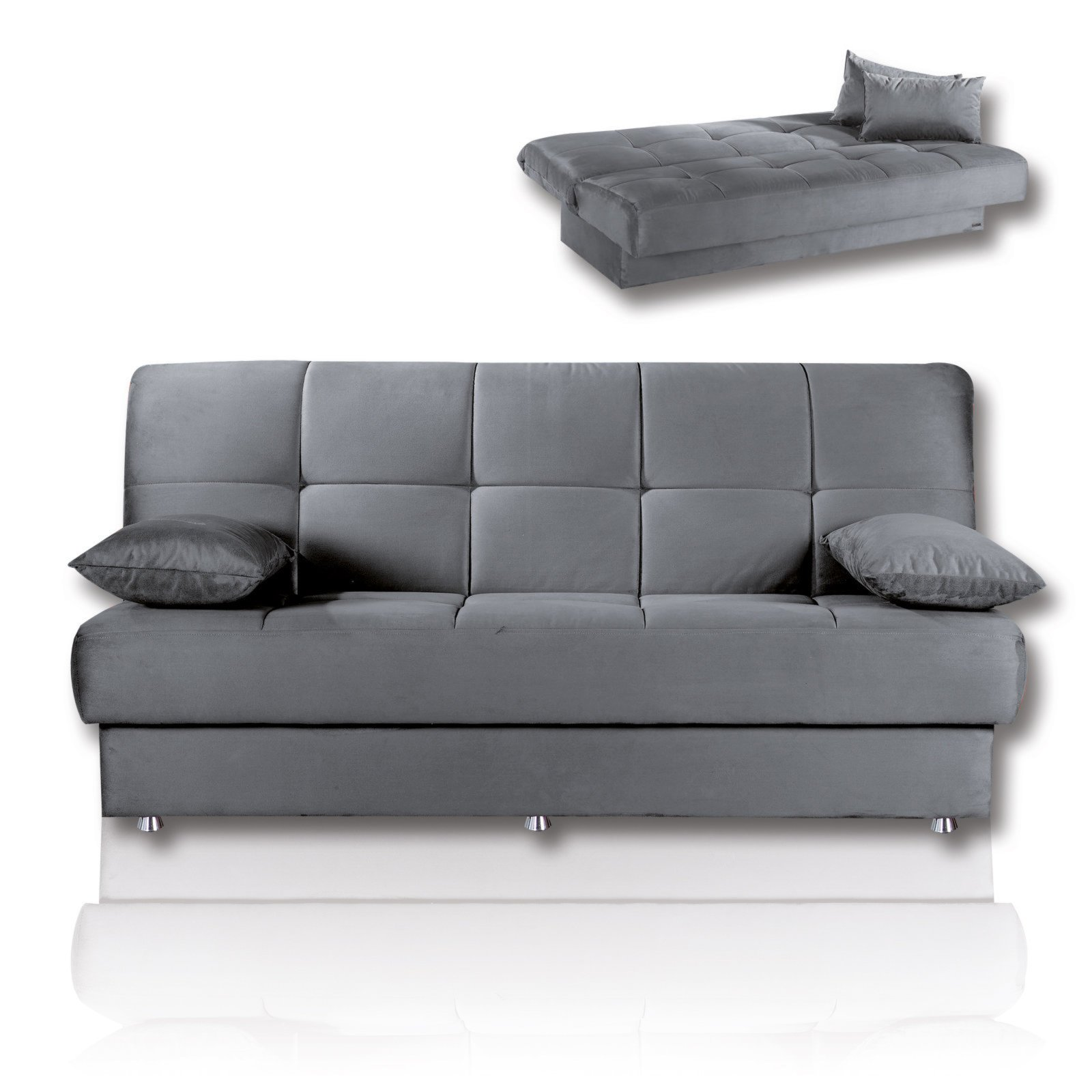 roller schlafsofa grau microfaser mit staukasten ebay. Black Bedroom Furniture Sets. Home Design Ideas