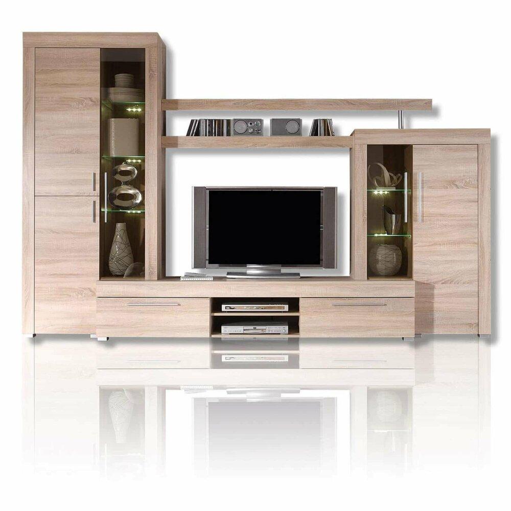 wohnwand boom sonoma eiche led beleuchtung 308 cm breit wohnw nde m bel roller m belhaus. Black Bedroom Furniture Sets. Home Design Ideas