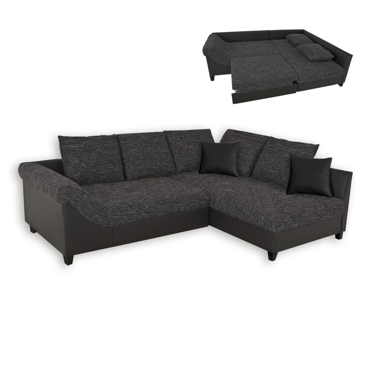 ecksofa grau schwarz. Black Bedroom Furniture Sets. Home Design Ideas