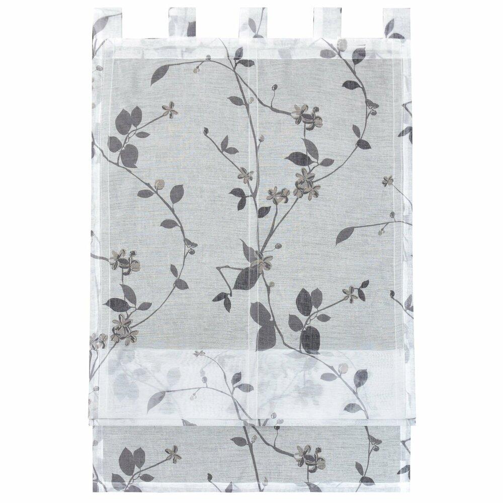 raffrollo roma wei grau mit blumen 60x140 cm. Black Bedroom Furniture Sets. Home Design Ideas