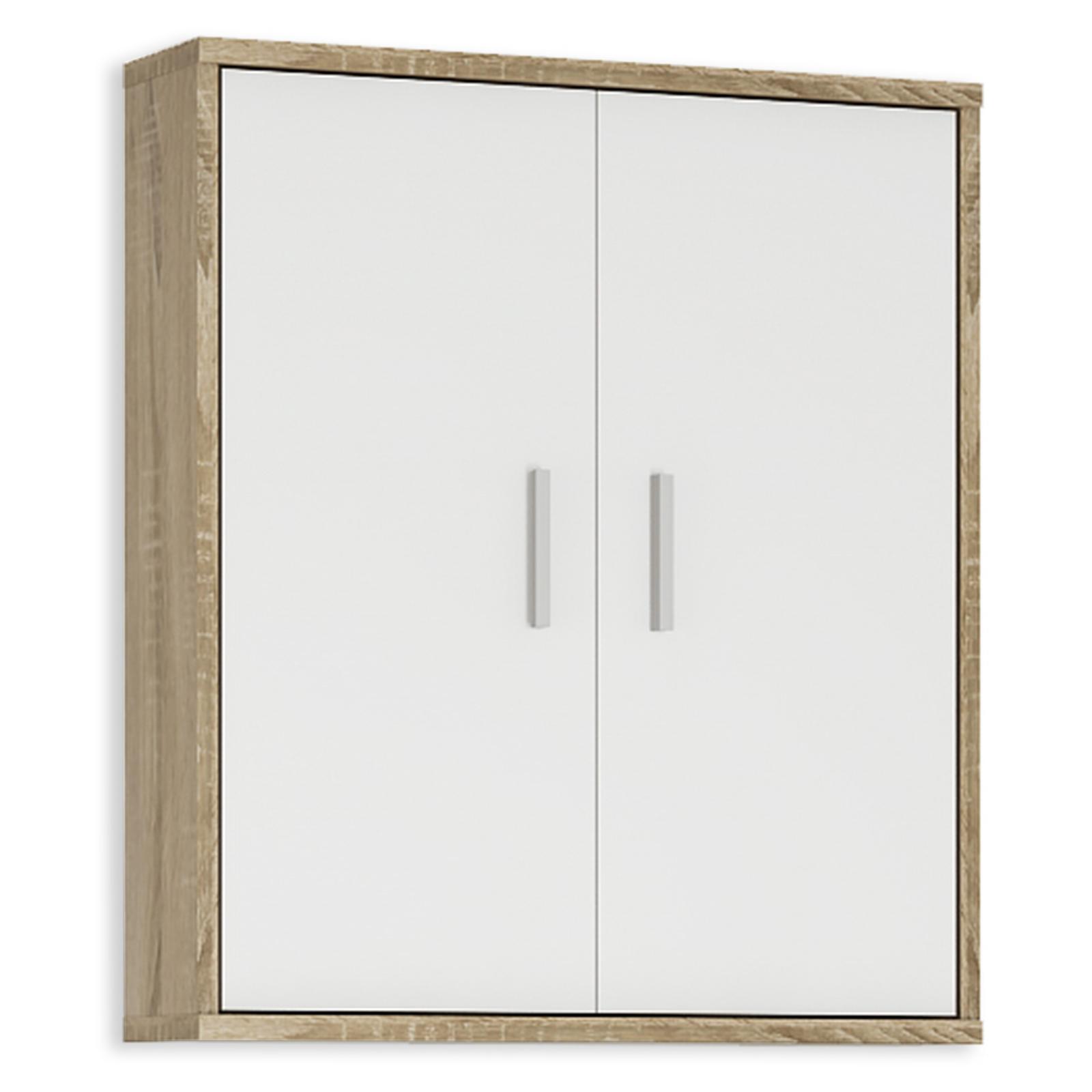 Hängeschrank - weiß-Sonoma Eiche - 61 cm breit
