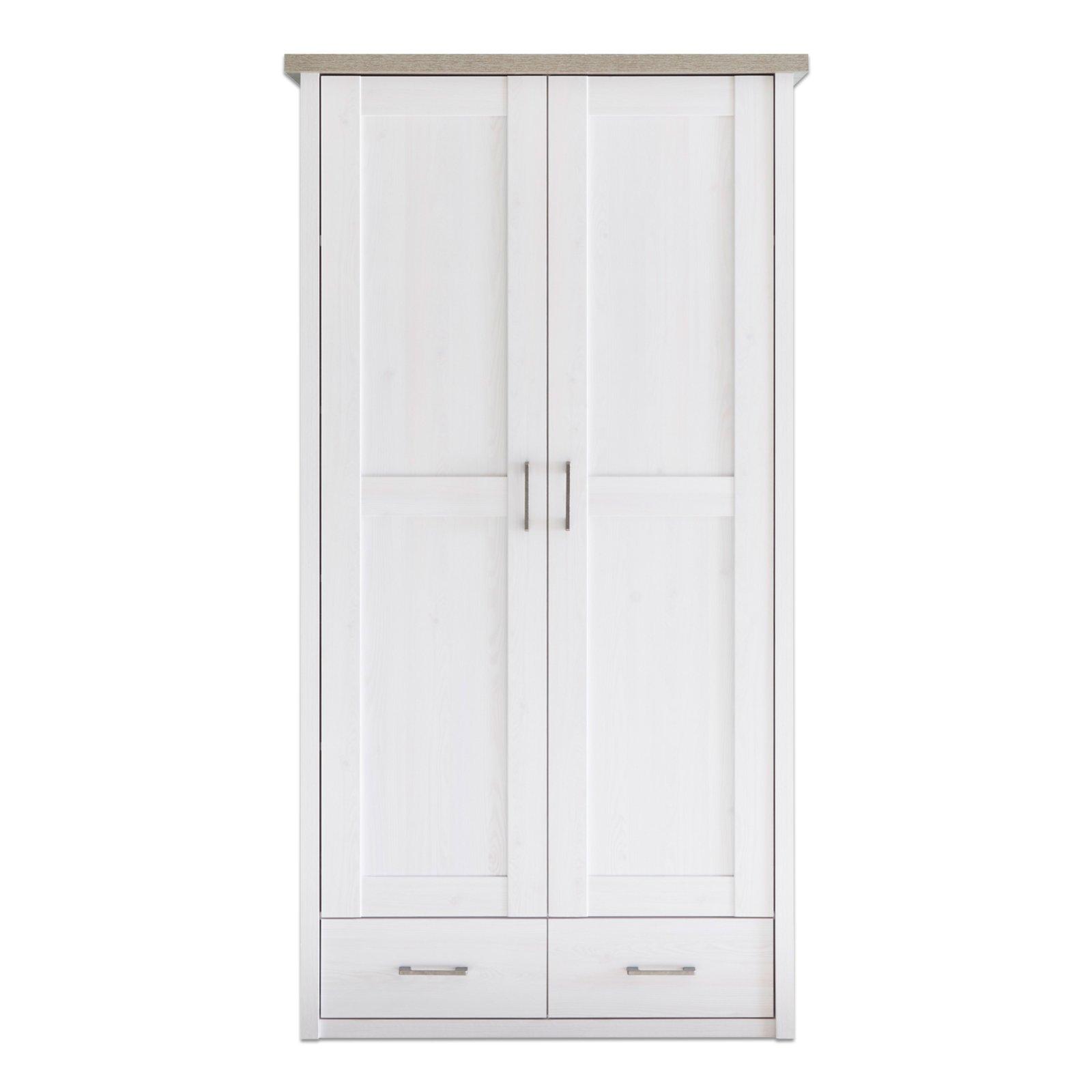 Kleiderschrank LUCA   Pinie Weiß   Trüffel   106 Cm