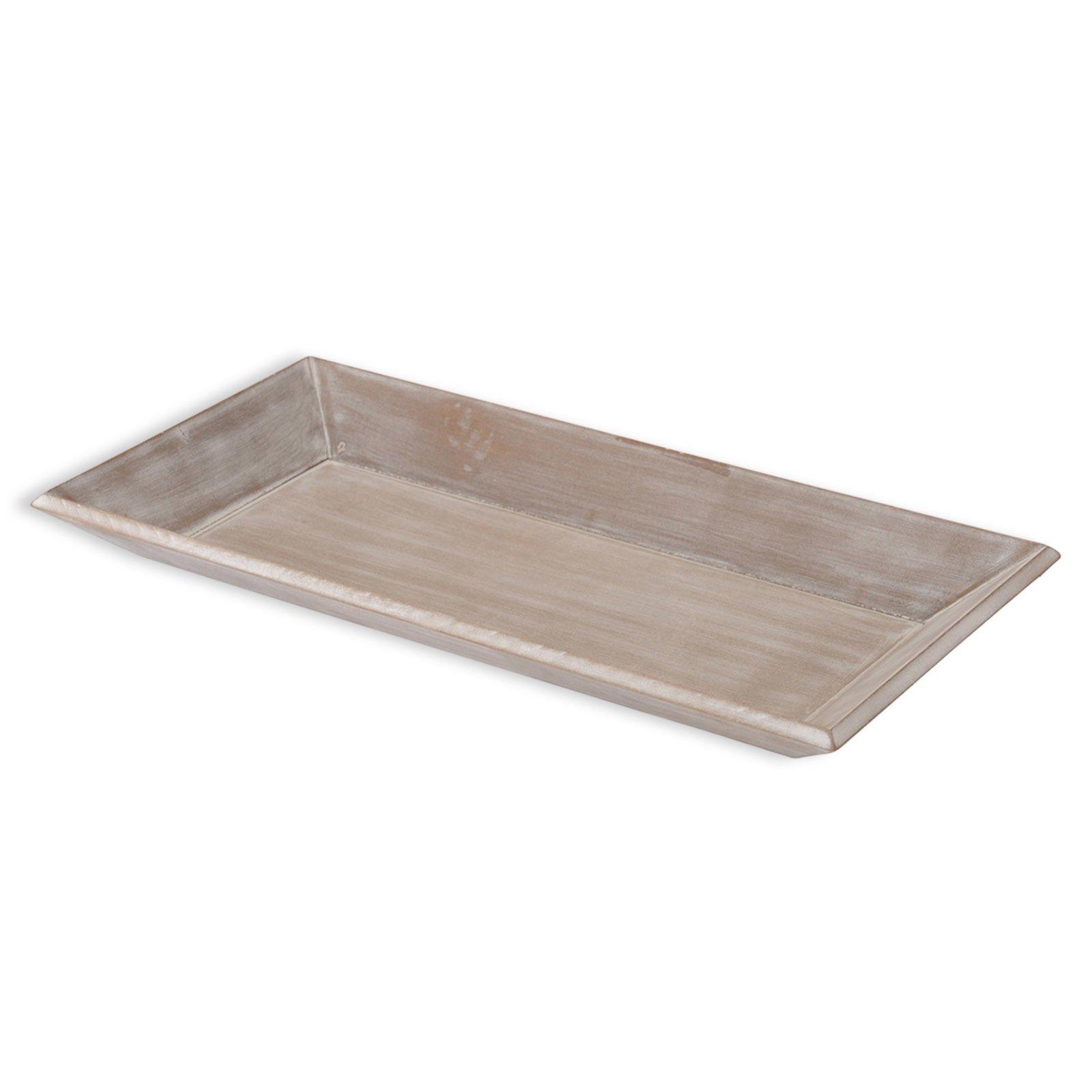 Deko-Teller - grau - Holz - länglich - 40x20 cm