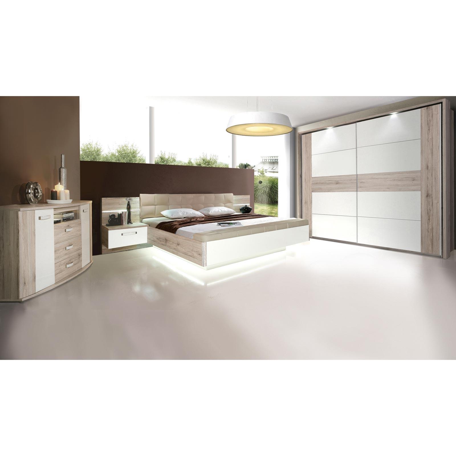 Ella@HOME 15-teiliges Schlafzimmer-Set - Sandeiche - weiß Hochglanz