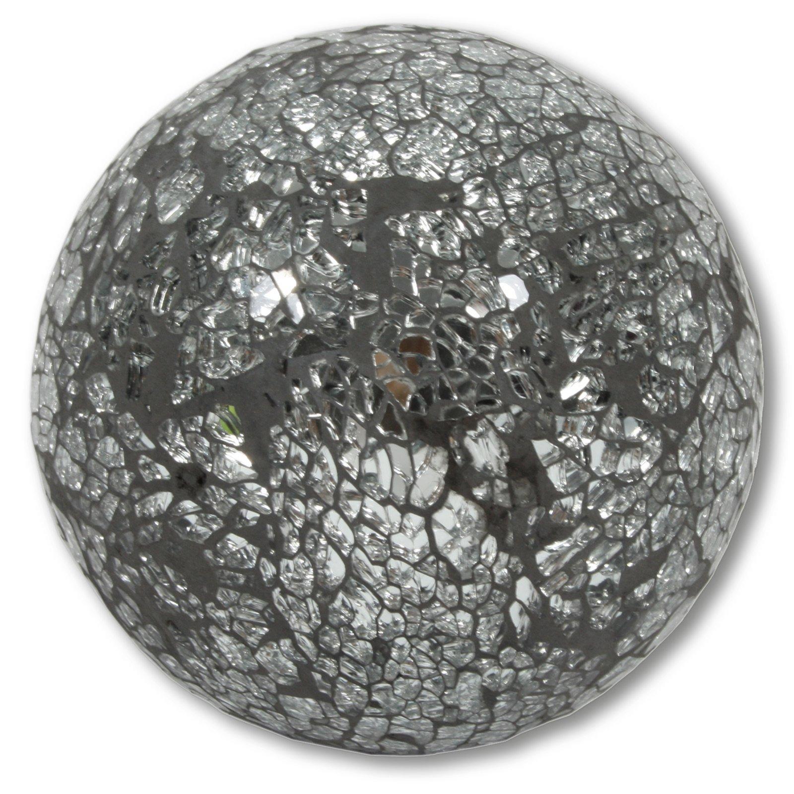 Deko-Kugel - silber - Mosaik - 10 cm Durchmesser