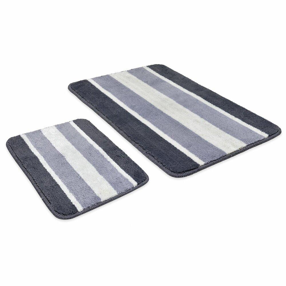 calimosa badgarnitur streifen grau 2 teilig badteppiche matten badtextilien. Black Bedroom Furniture Sets. Home Design Ideas