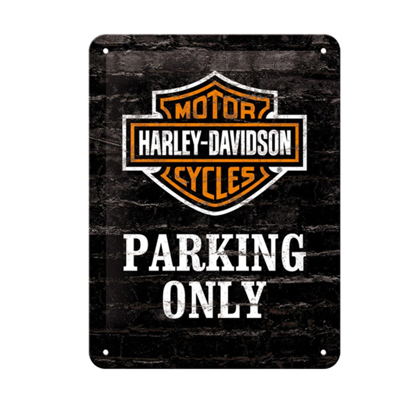 vintage blechschild harley davidson parking only. Black Bedroom Furniture Sets. Home Design Ideas