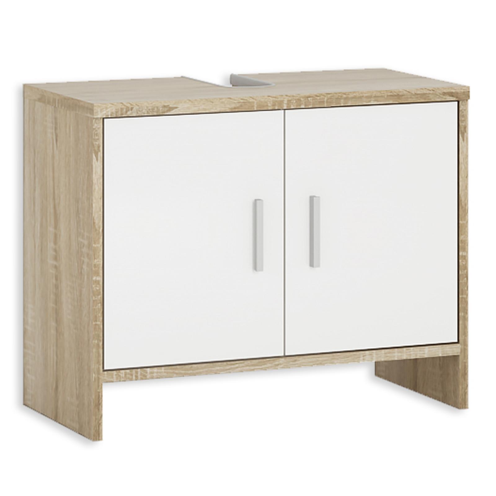 Waschbeckenunterschrank - weiß-Sonoma Eiche - 18 cm breit