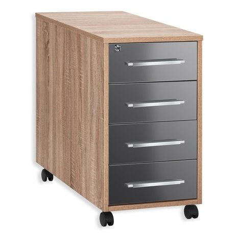 anstell rollcontainer system sonoma eiche grau 43 cm rollcontainer arbeitszimmer b ro. Black Bedroom Furniture Sets. Home Design Ideas