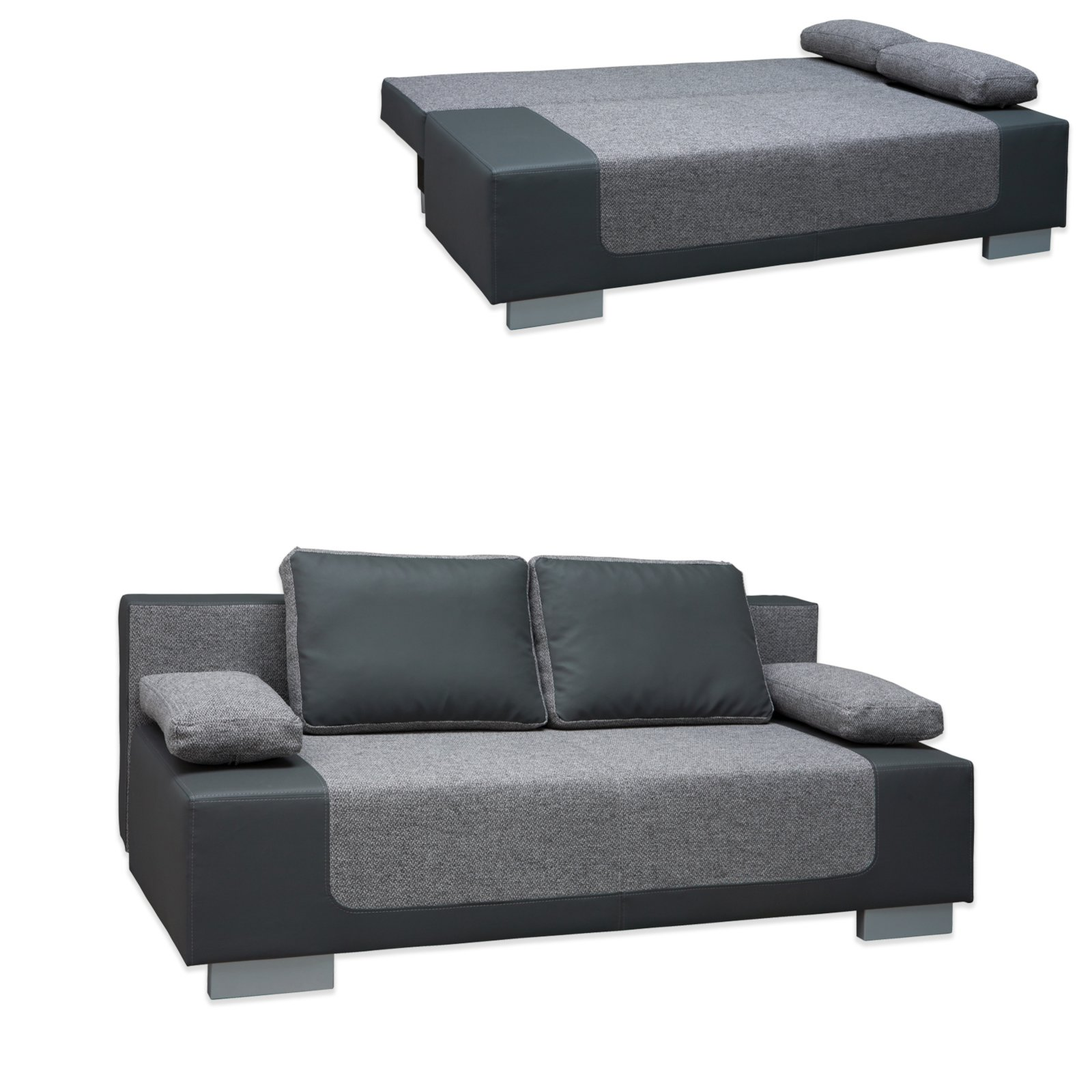 schlafsofa bonell federkern grau mit staukasten kissen ebay. Black Bedroom Furniture Sets. Home Design Ideas
