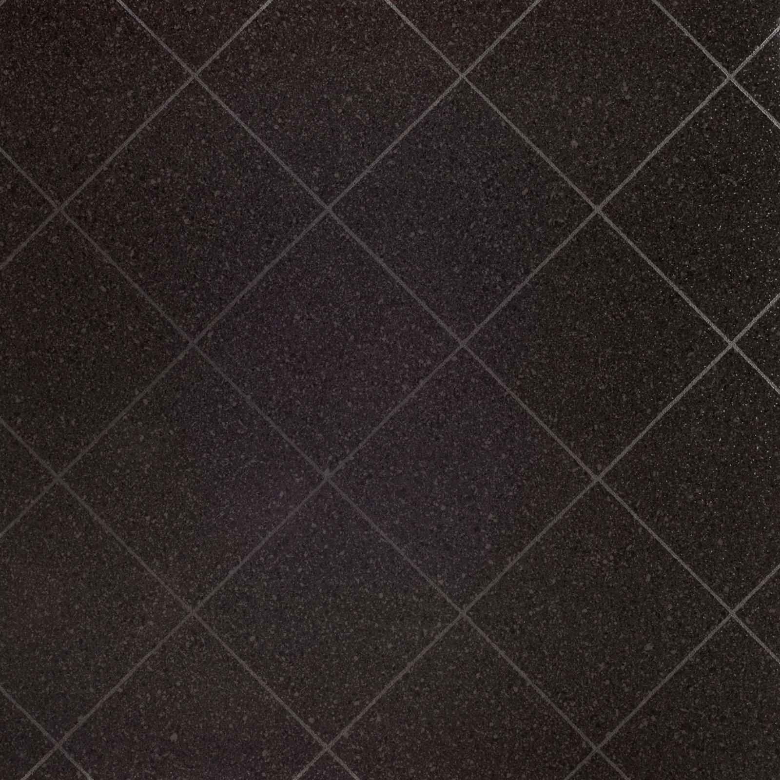 PVC-Bodenbelag - schwarz Hochglanz - Fliesenoptik - 4 Meter