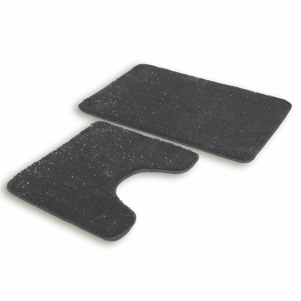 badgarnitur wolke anthrazit 2 teilig ausschnitt glitzer badteppiche matten. Black Bedroom Furniture Sets. Home Design Ideas