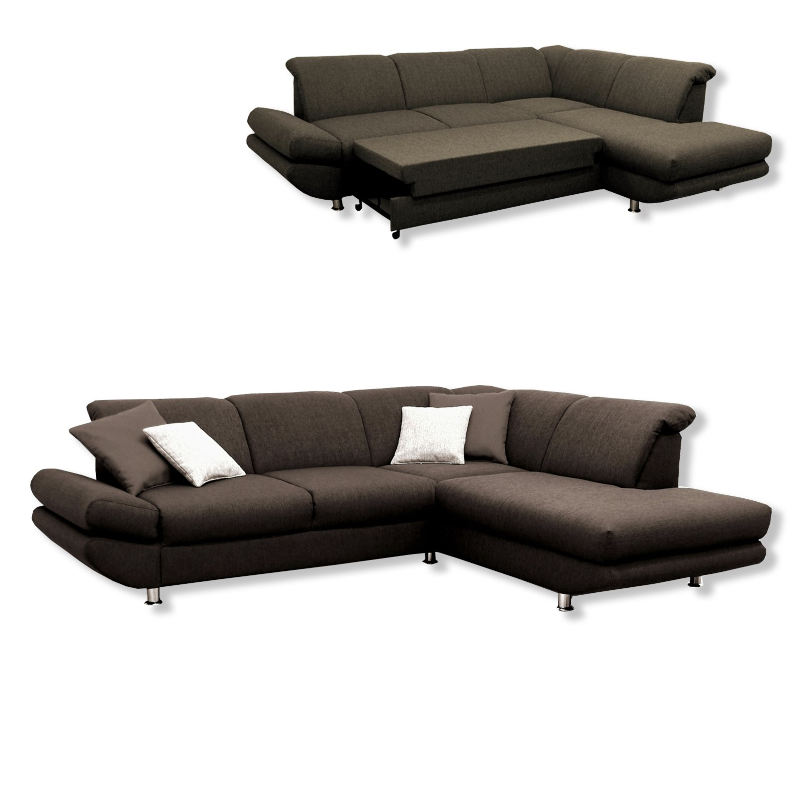 polsterecke braun liegefunktion ottomane rechts ecksofas l form sofas couches. Black Bedroom Furniture Sets. Home Design Ideas
