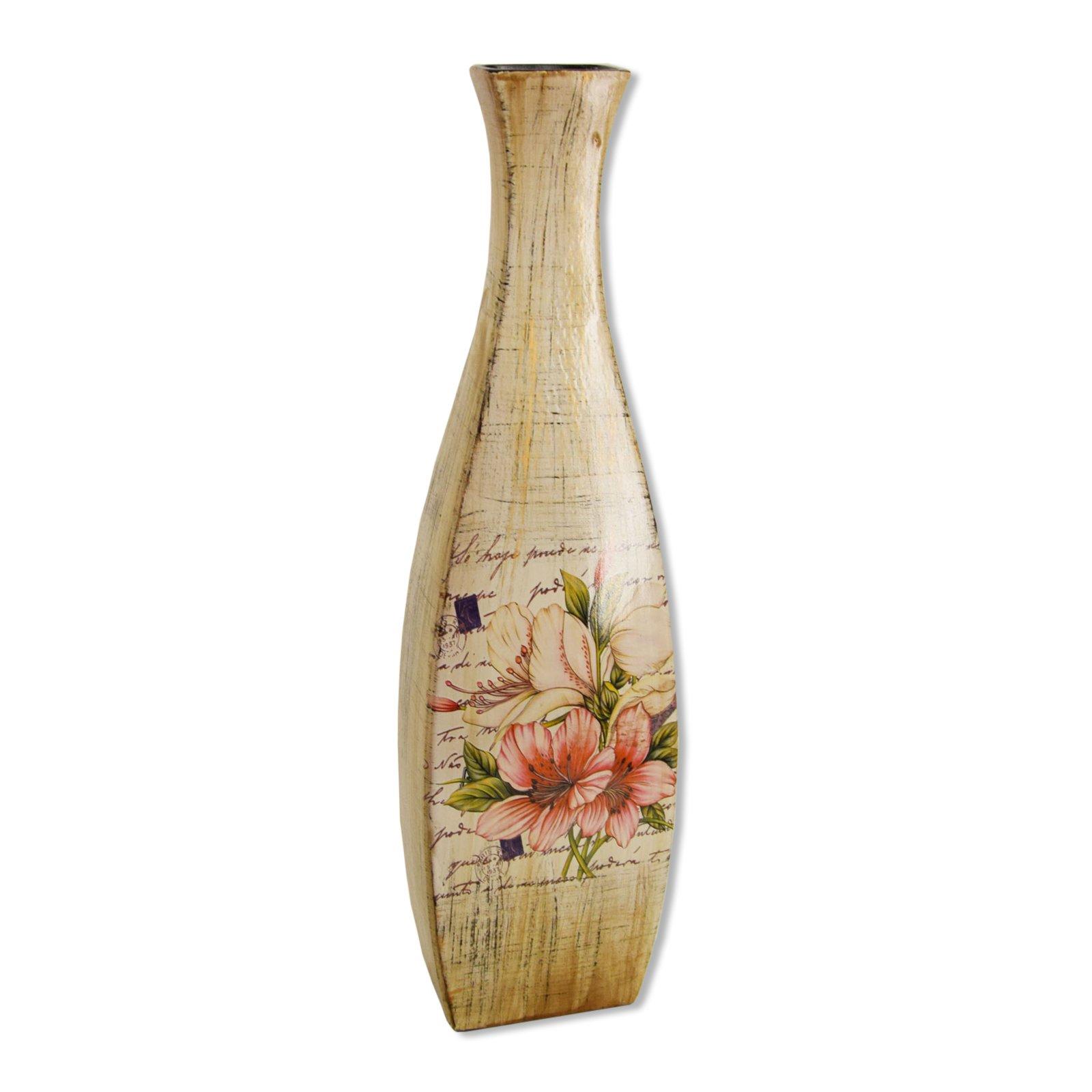roller vase beige braun mit blumendekor 60 cm hoch ebay. Black Bedroom Furniture Sets. Home Design Ideas