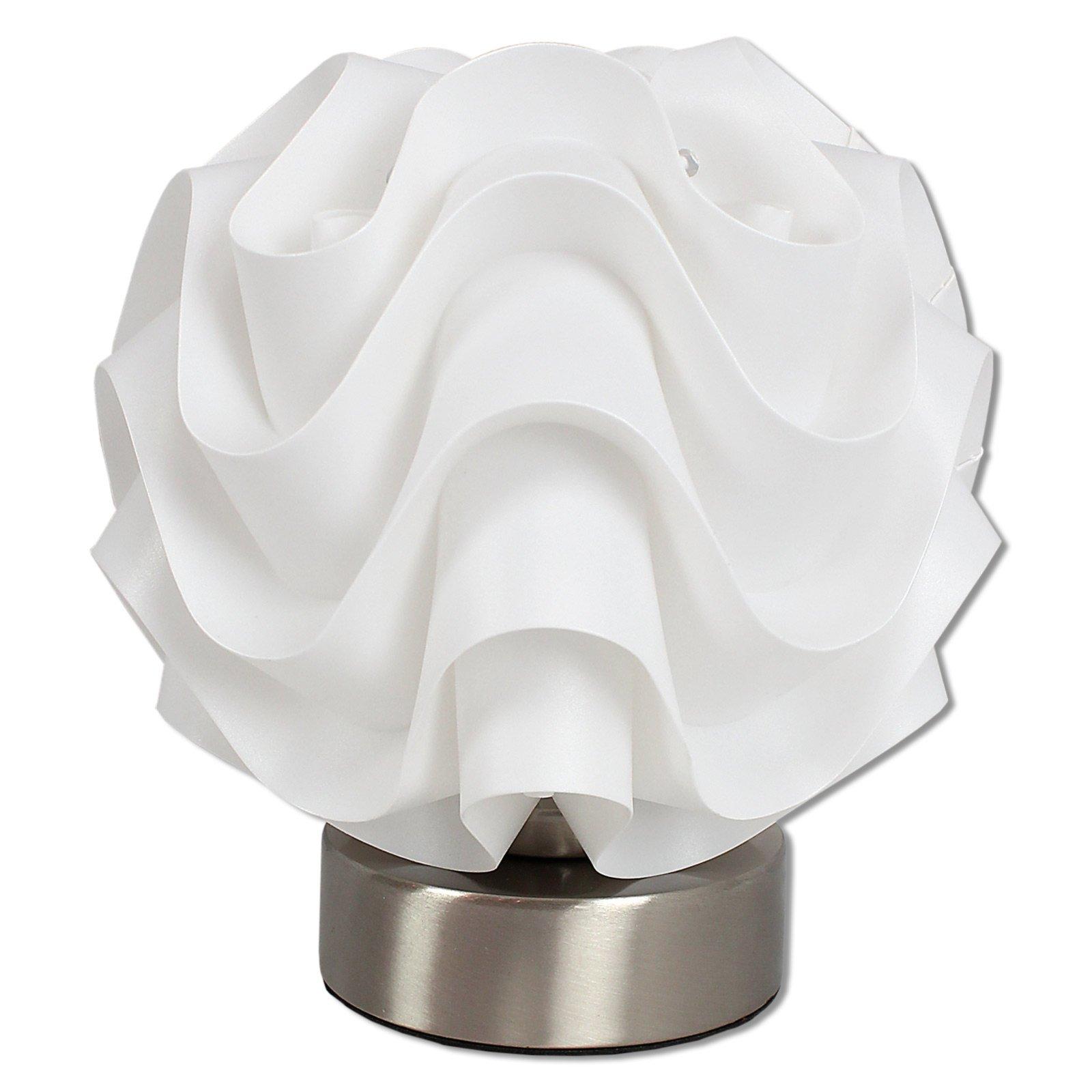 LAMPURA Tischleuchte LOU - weiß-nickel - ∅ 17 cm