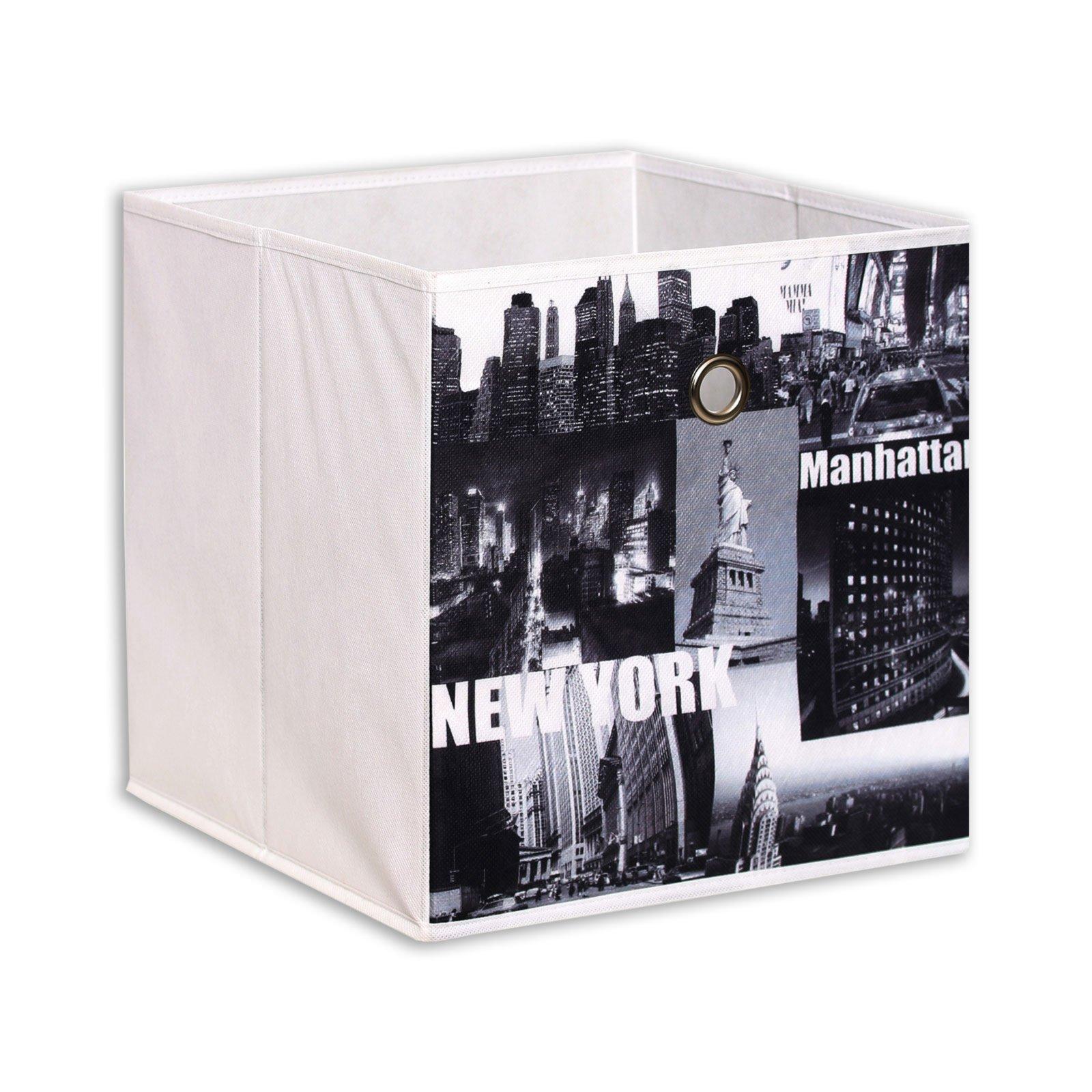 homara Aufbewahrungsbox NEW YORK - weiß-schwarz - 32 x 32 x 32 cm