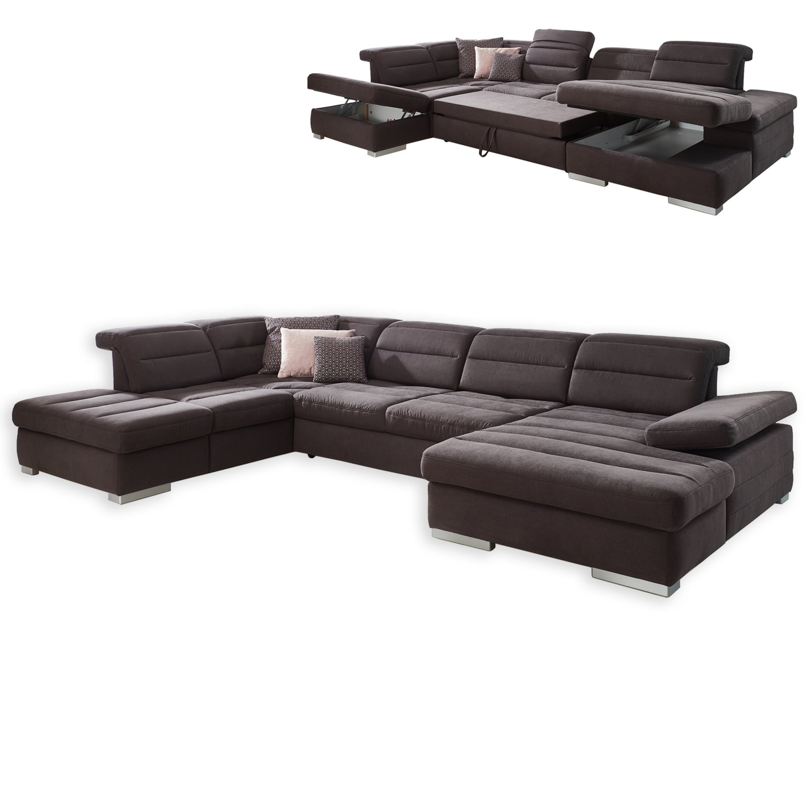 wohnlandschaft braun mit liegefunktion und bettkasten. Black Bedroom Furniture Sets. Home Design Ideas