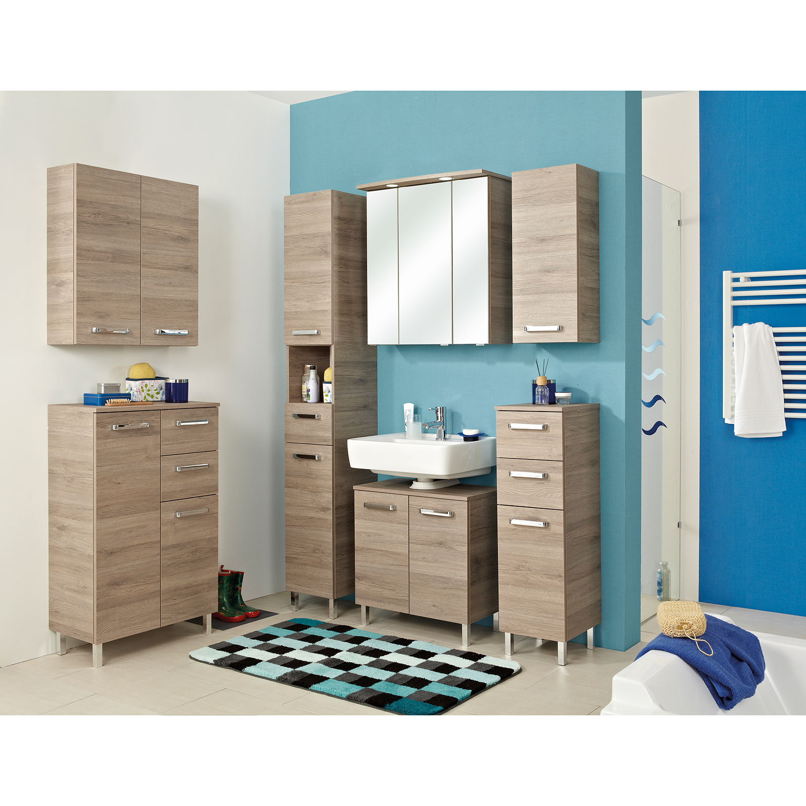 Highboard - San Remo Eiche - 30 cm breit