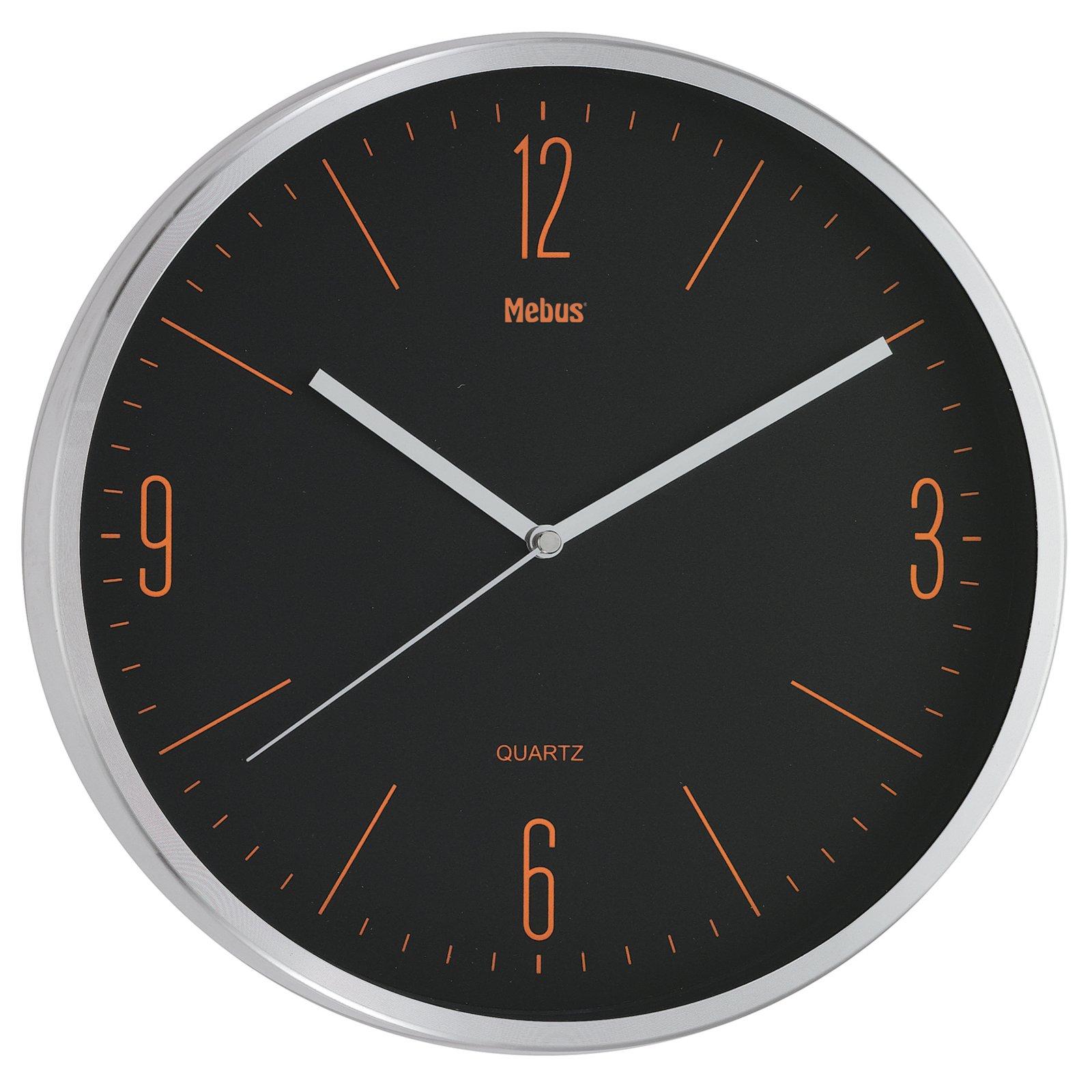 quarz wanduhr schwarz orange 30 cm uhren wecker. Black Bedroom Furniture Sets. Home Design Ideas