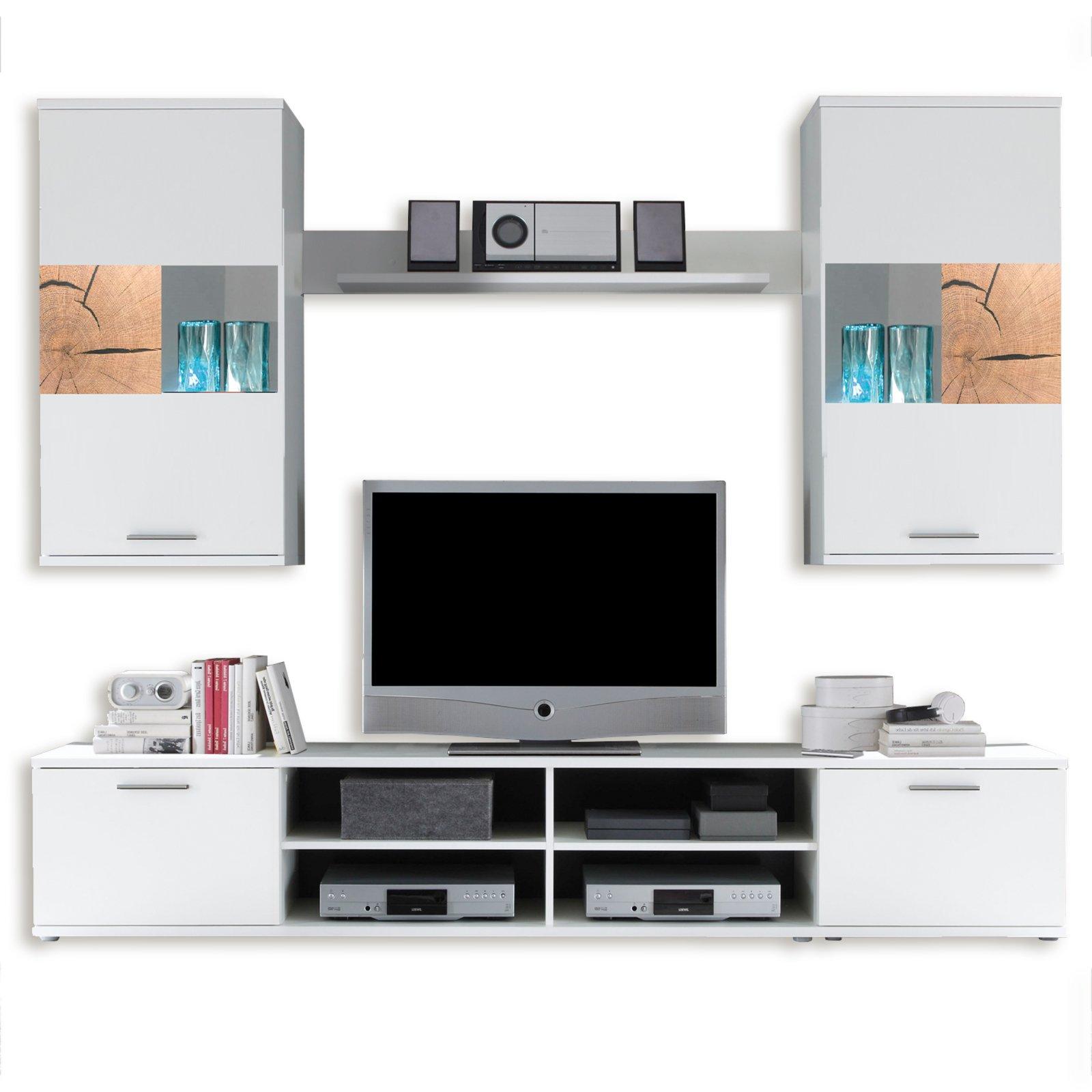 wohnwand spalt wei mit led beleuchtung wohnw nde. Black Bedroom Furniture Sets. Home Design Ideas
