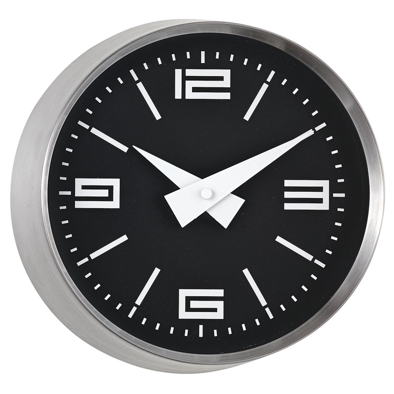 QuarzWanduhr  silberschwarz  Ø 23 cm  Uhren & Wecker  ~ Spülbecken Quarz