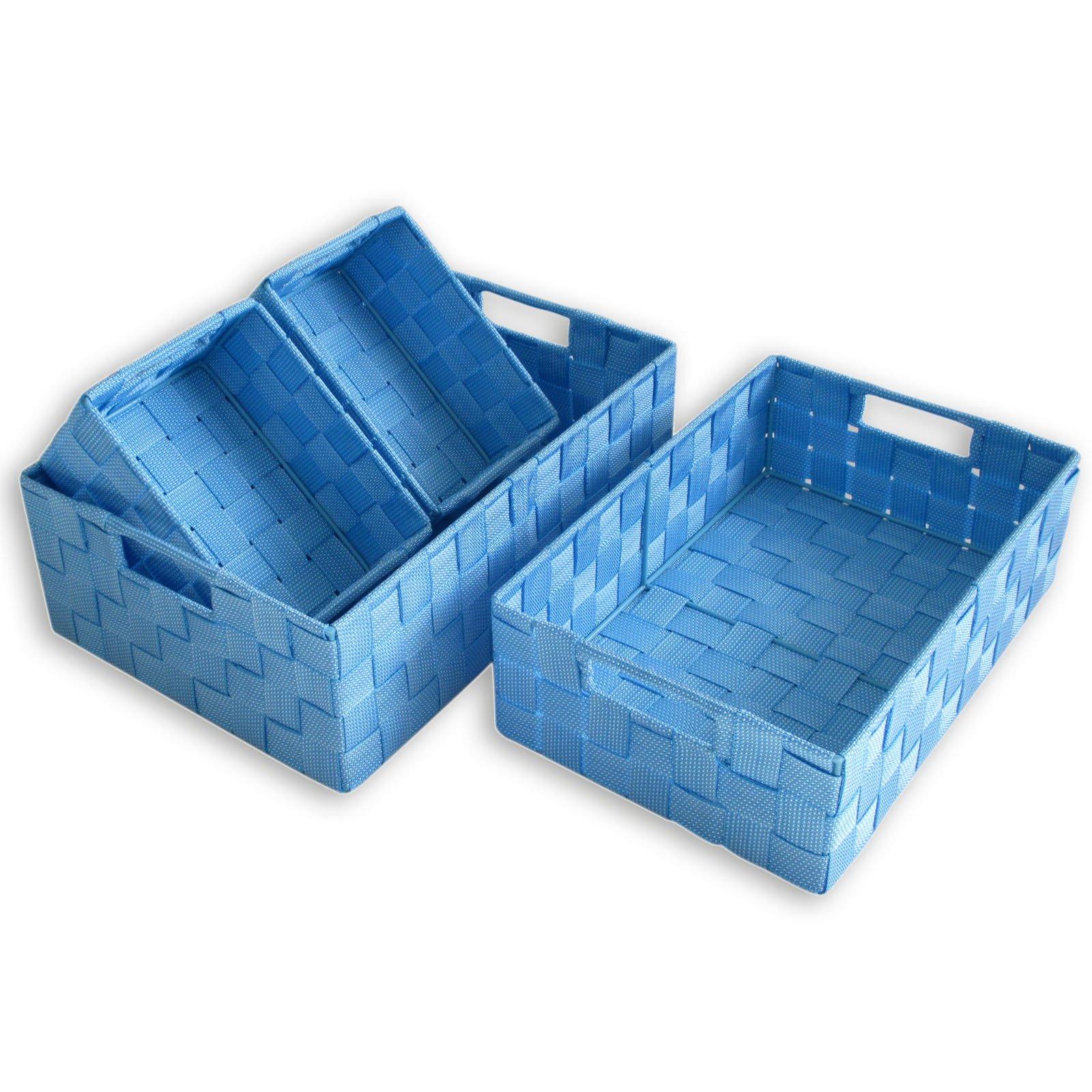 4er set aufbewahrungsk rbe blau dekorative boxen k rbe boxen k rbe deko haushalt. Black Bedroom Furniture Sets. Home Design Ideas